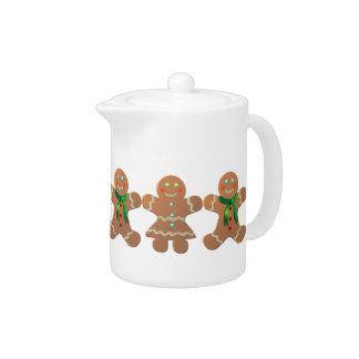 Dancing Gingerbread Cookies Cartoon Teapot