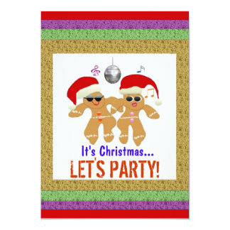 """Dancing Gingerbread Cookies Party Invitations 5"""" X 7"""" Invitation Card"""