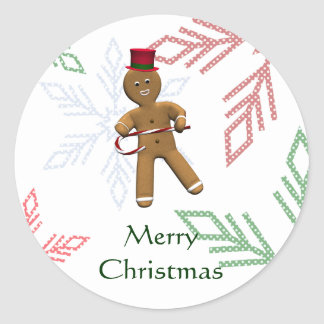 Dancing Gingerbread Man Classic Round Sticker
