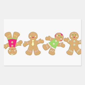 dancing gingerbread rectangular sticker