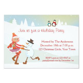Dancing Girl and Snowman Holiday Invitation