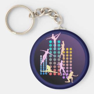 Dancing girl basic round button keychain
