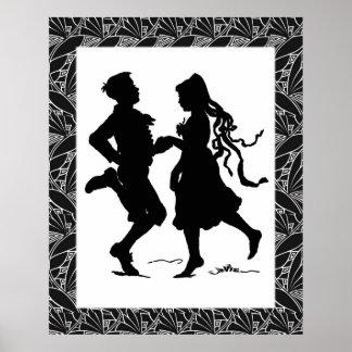 Dancing Girl Boy Silhouette Art Poster