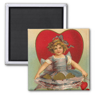 Dancing Girl Heart Valentine 2 Inch Square Magnet