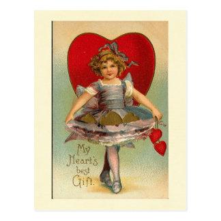 Dancing Girl Heart Valentine Postcard
