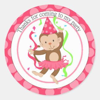 Dancing Girl Monkey Birthday Thank You Classic Round Sticker