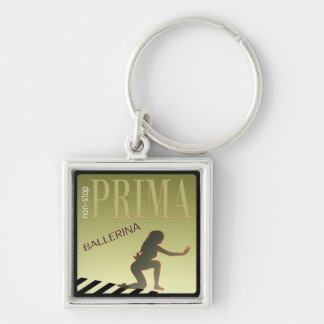 Dancing girl Silver-Colored square keychain