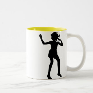 Dancing Girl; yellow Two-Tone Coffee Mug