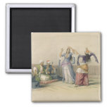 Dancing Girls at Cairo, from 'Egypt and Nubia' 2 Inch Square Magnet