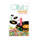 Dancing Girls Retro Vinyl Pop Dots Artist Business Business Card Template
