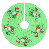 Dancing Golf Christmas Elf Brushed Polyester Tree Skirt