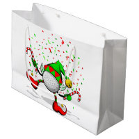 Dancing Golf Christmas Elf Large Gift Bag
