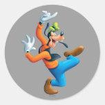 Dancing Goofy Classic Round Sticker
