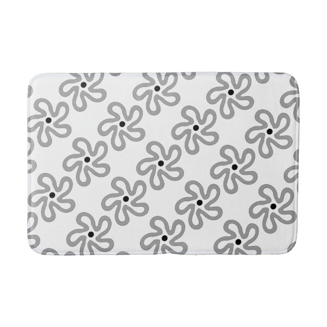 Dancing Gray Flower Pattern Bath Mat