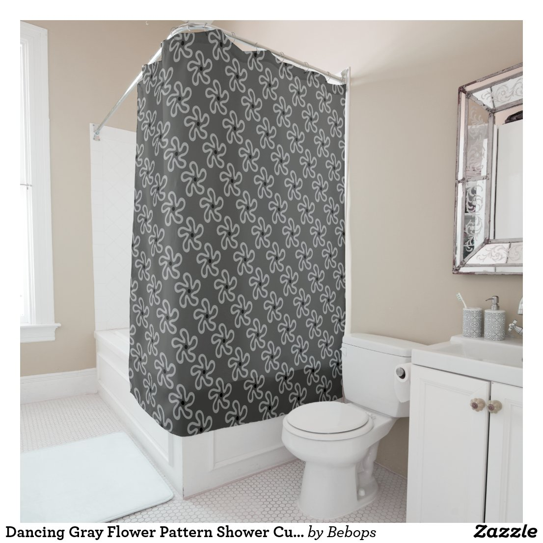 Dancing Gray Flower Pattern Shower Curtain