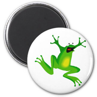 dancing green frog 2 inch round magnet