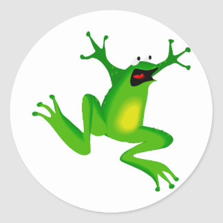 dancing green frog classic round sticker