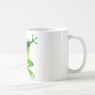 dancing green frog classic white coffee mug