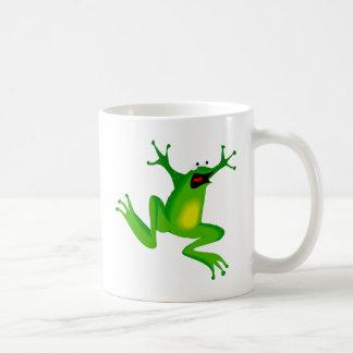 dancing green frog coffee mug