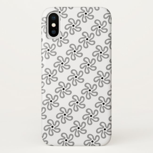 Dancing Grey Flower Abstract iPhone X Case