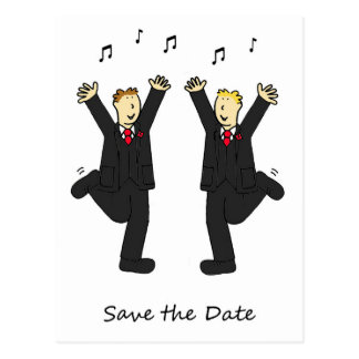 Dancing grooms save the date card. postcard