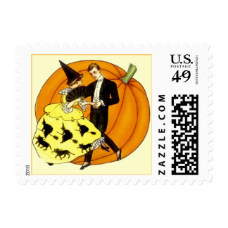 Dancing Halloween Couple Postage Stamps