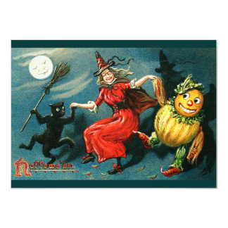 Dancing Halloween Witch 4.5x6.25 Paper Invitation Card