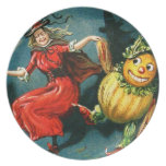 Dancing Halloween Witch Dinner Plates