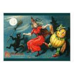 "Dancing Halloween Witch 4.5"" X 6.25"" Invitation Card"