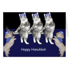 Dancing Hanukkah Kitties Card at Zazzle