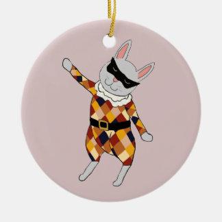 Dancing Harlequin Bunny Customizable Ornament