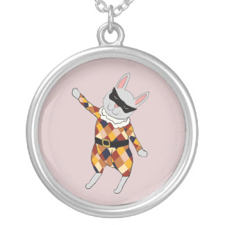 Dancing Harlequin Bunny Necklace