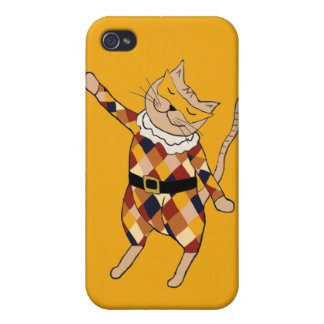 Dancing Harlequin Kitty iPhone 4 Case
