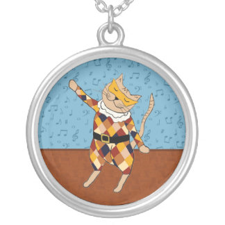 Dancing Harlequin Kitty Necklace