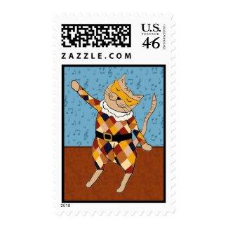 Dancing Harlequin Kitty Postage Stamp stamp