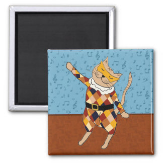 Dancing Harlequin Kitty Square Magnet