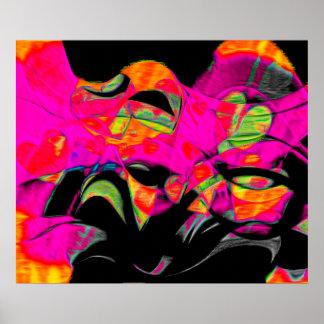 Dancing Hearts on Black Chiffon Poster