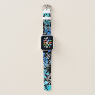 Dancing Hibiscus Hawaiian Turquoise Blend Apple Watch Band