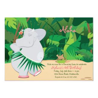 """Dancing Hippo Invitation 5"""" X 7"""" Invitation Card"""