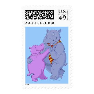 Dancing Hippo Tango Postage Stamp