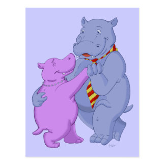 Dancing Hippo Tango Postcard