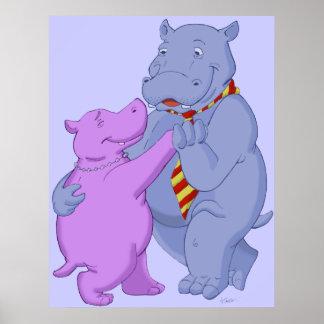 Dancing Hippo Tango Poster Print