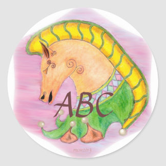 Dancing Horses Monogram Round Stickers