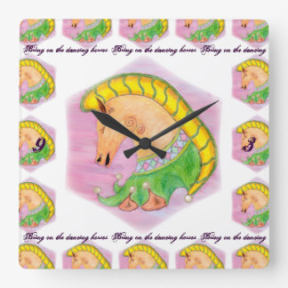 Dancing Horses Square Wall Clocks