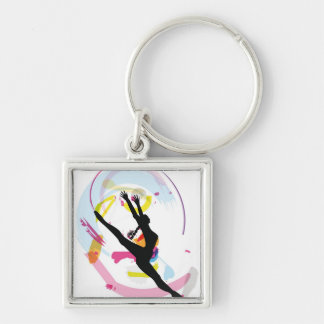 Dancing illustration Silver-Colored square keychain