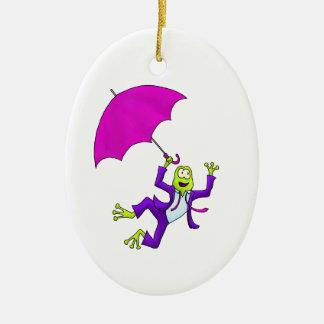 Dancing in the Rain Frog Ceramic Ornament