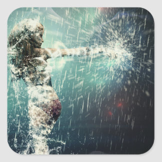 Dancing in the rain square sticker