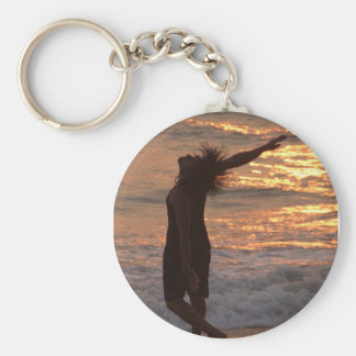 Dancing in the Surf at Sunset Keychain