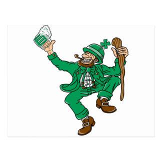 Dancing Irish Man With Green Beer Postcard