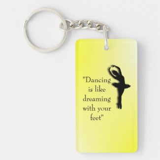 Dancing is Like Dreaming Ballet Double-Sided Rectangular Acrylic Keychain